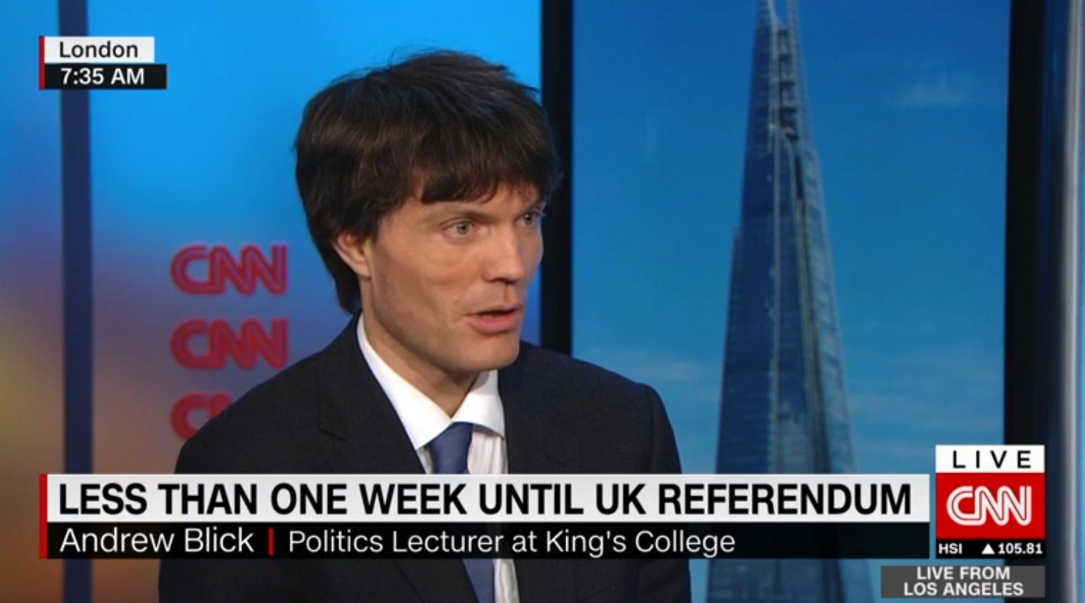 History and Policy's Director Andrew Blick talks to Max Foster in CNN newsroom